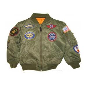 Youth Alpha Nylon MA-1 Flight Jacket (Olive Drab) with Patches