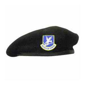 Military Air Force Enlisted Beret With Flash (Leather Sweatband)(Dark Navy)