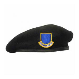 Military Air Force Officer Beret With Flash (Leather Sweatband)(Dark Navy)