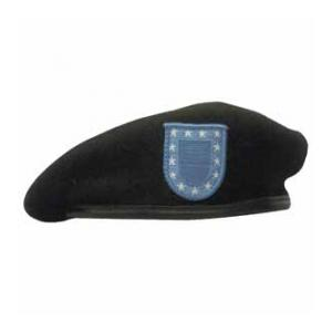 Military Army Beret With Flash (Leather Sweatband)(Black)