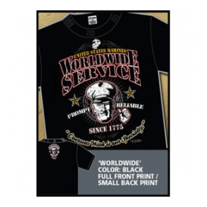 USMC Worldwide Service T-shirt (Black) 7.62 Design