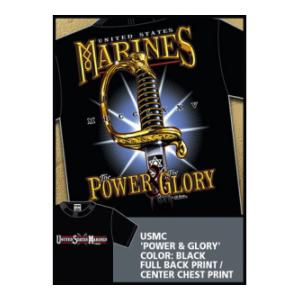 USMC Power & Glory T-shirt (Black) 7.62 Design