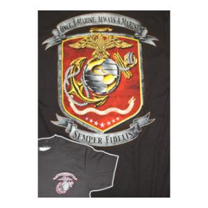 USMC Always a Marine T-Shirt (Black Ink Designs) (Black)