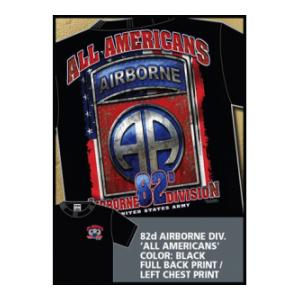 82nd Airborne Division All Americans T-shirt (Black) 7.62 Design