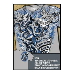Navy 'Nautical Defiance' All-Over Printed Tee (Grey) 7.62 Design