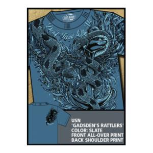 Navy 'Gadsen's Rattlers' All-Over Printed Tee (Blue) 7.62 Design