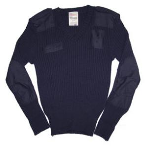 Blauer V-Neck Wool Commando Sweater (Navy) Close Out