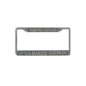 US Marine Corps License Plate Frame Antique Brass