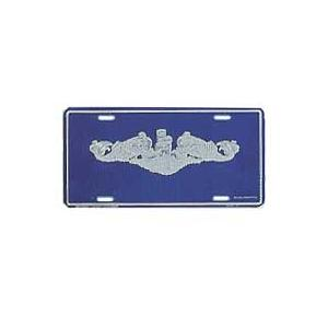 Navy Submarine Dolphin Silver License Plate