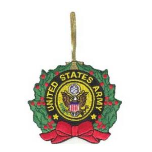 Embroidered Army Christmas Ornament