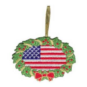 Embroidered American Flag Christmas Ornament
