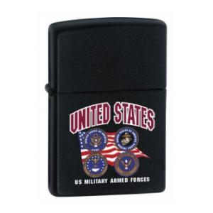 US Armed Forces 4 Branches Zippo Lighter (Black Matte)
