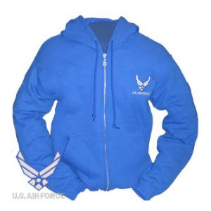 Air Force New Logo Zip Hooded Long Sleeve Sweatshirt (Royal Blue)