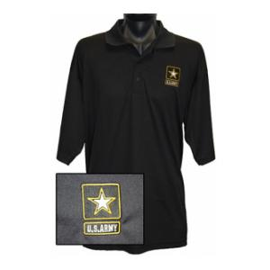 U.S. Army New Logo Wicking Mesh Polo Shirt (Black)