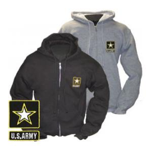Army New Logo Zip Hooded Long Sleeve Sweatshirt