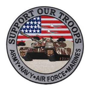Support Our Troops Back Patch with Tank