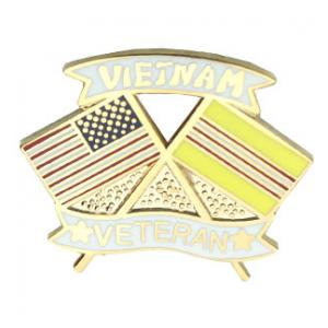 Vietnam Veteran Crossed Flag Pin