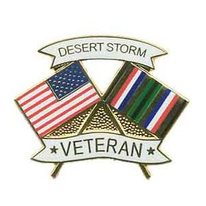 Desert Storm Crossed Flag Pin