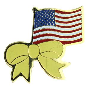US FLAG W/ YELLOW RIBBON PIN