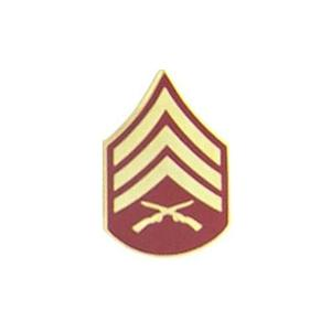 Marine Sergeant E-5 Pin (Gold on Red)