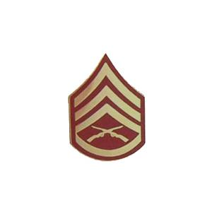 Marine Staff Sergeant E-6 Pin (Gold on Red)