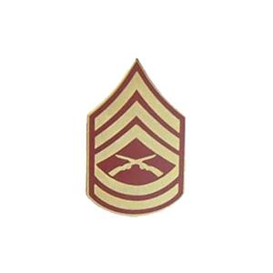 Marine Gunnery Sergeant E-7 Pin (Gold on Red)