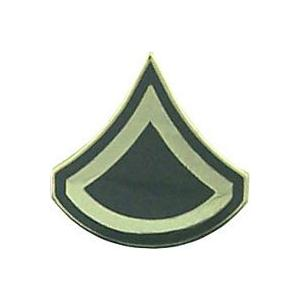 Army Private First Class E-3 Pin (Gold on Green)