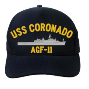 USS Coronado AGF-11 Cap (Dark Navy) (Direct Embroidered)