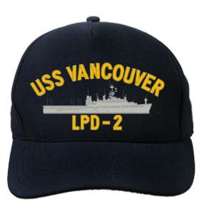 USS Vancouver LPD-2 Cap (Dark Navy) (Direct Embroidered)