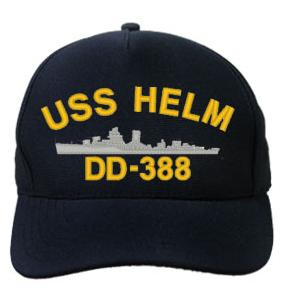 USS Helm DD-388 Cap (Dark Navy) (Direct Embroidered)