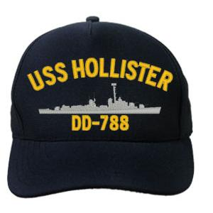 USS Hollister DD-788 Cap (Dark Navy) (Direct Embroidered)