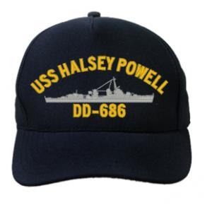 USS Halsey Powell DD-686 Cap (Dark Navy) (Direct Embroidered)