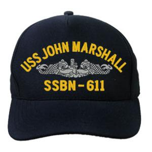 USS John Marshall SSBN-611 Cap with Silver Emblem (Dark Navy) (Direct Embroidered)