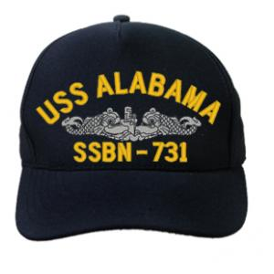 USS Alabama SSBN-731 Cap with Silver Emblem (Dark Navy) Direct Embroidered)
