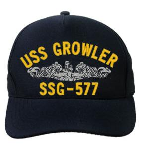 USS Growler SSG-577 Cap with Silver Emblem (Dark Navy) (Direct Embroidered)