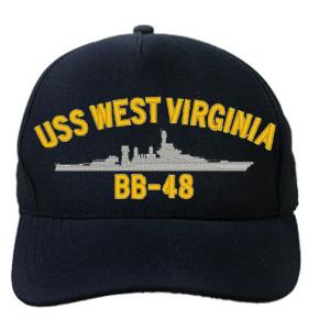 USS West Virginia BB-48 Cap (Dark Navy) (Direct Embroidered)