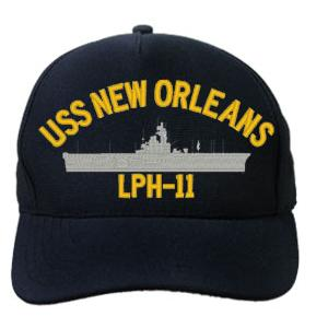 USS New Orleans LPH-11 Cap (Dark Navy) (Direct Embroidered)