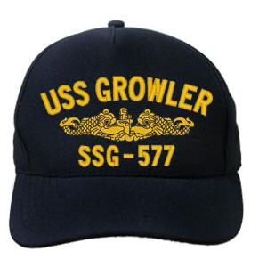 USS Growler SSG-577 Cap with Gold Emblem (Dark Navy) (Direct Embroidered)