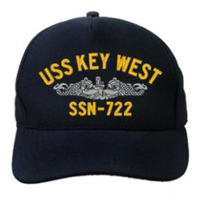 USS Key West SSN-722 Cap with Silver Emblem (Dark Navy) (Direct Embroidered)