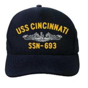 USS Cincinnati SSN-693 Cap with Silver Emblem (Dark Navy) (Direct Embroidered)