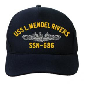 USS L. Mendel Rivers SSN-686 with Silver Emblem (Dark Navy) (Direct Embroidered)