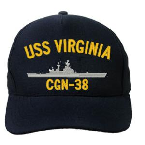 USS Virginia CGN-38 Cap (Dark Navy) (Direct Embroidered)