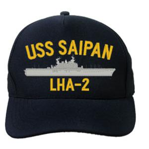 USS Saipan LHA-2 Cap (Dark Navy) (Direct Embroidered)