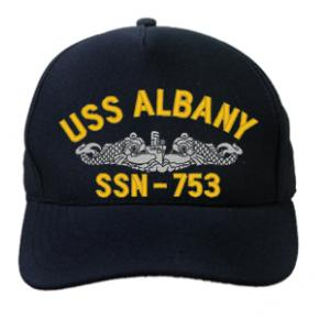 USS Albany SSN-753 Cap with Silver Emblem (Dark Navy) (Direct Embroidered)