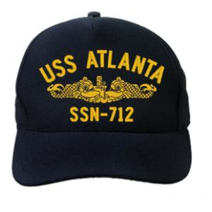 USS Atlanta SSN-712 Cap with Gold Emblem (Dark Navy) (Direct Embroidered)
