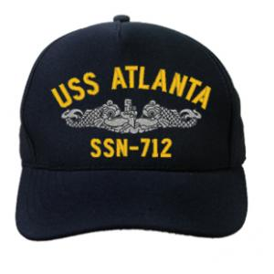 USS Atlanta SSN-712 Cap with Silver Emblem (Dark Navy) (Direct Embroidered)