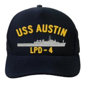 USS Austin LPD-4 Cap (Dark Navy) (Direct Embroidered)