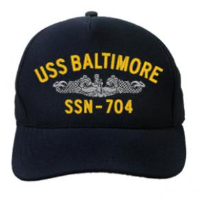 USS Baltimore SSN-704 Cap with Silver Emblem (Dark Navy) (Direct Embroidered)