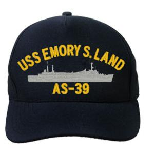 USS Emory S. Land AS-39 Cap with Boat (Dark Navy) (Direct Embroidered)