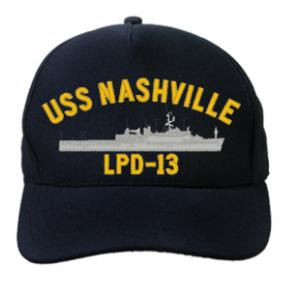 USS Nashville LPD-13 Cap (Dark Navy) (Direct Embroidered)